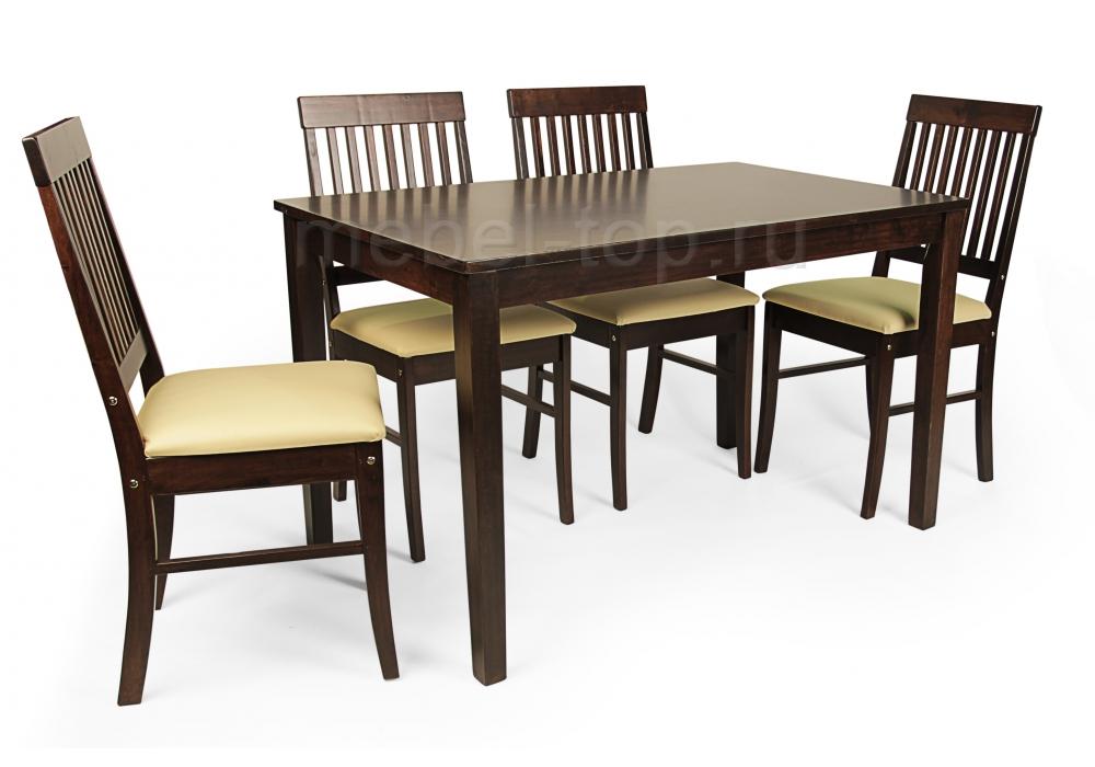 Обеденная группа МалиОбеденные столы<br>Размер стола: 120х75х75<br><br>Артикул: 1037<br>Материалы: Массив гевеи, кожзаменитель<br>Полный размер (ДхГхВ): Стол: 120х75х75<br>Комплектация: Стол + 4 стула<br>Цвет: Венге/бежевый кожзам<br>Изготовление и доставка: 1-3 дня<br>Условия доставки: Бесплатная по Москве до подъезда<br>Условие оплаты: Оплата наличными при получении товара<br>Доставка по МО (за пределами МКАД): 30 руб./км<br>Подъем на грузовом лифте: 700 руб.<br>Производство: Малайзия<br>Производитель: Woodville