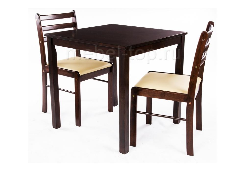 Обеденная группа СтартерОбеденные столы<br>Размеры: Стол: 75х75х75, стул: 42х42х82<br><br>Артикул: 1194<br>Материалы: Массив гевеи, кожзаменитель<br>Полный размер (ДхГхВ): Стол: 75х75х75, стул: 42х42х82<br>Комплектация: Стол + 2 стула<br>Цвет: Венге/бежевый кожзам<br>Изготовление и доставка: 1-3 дня<br>Условия доставки: Бесплатная по Москве до подъезда<br>Условие оплаты: Оплата наличными при получении товара<br>Доставка по МО (за пределами МКАД): 30 руб./км<br>Подъем на грузовом лифте: 700 руб.<br>Производство: Малайзия<br>Производитель: Woodville