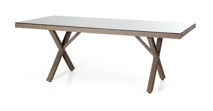 Плетеный стол Ninja-6Плетеная мебель из искусственного ротанга<br>Размер: 200х100 В74<br><br>Артикул: 35861<br>Материалы: Искусственный ротанг, высококачественное стекло<br>Каркас: Алюминиевый<br>Полный размер: 200х100 В74<br>Цвет: Natur, black, grey<br>Изготовление и доставка: 2-3 дня<br>Условия доставки: Бесплатная по Москве до подъезда<br>Условие оплаты: Оплата наличными при получении товара<br>Гарантия: 12 месяцев<br>Производство: Швеция<br>Производитель: Brafab