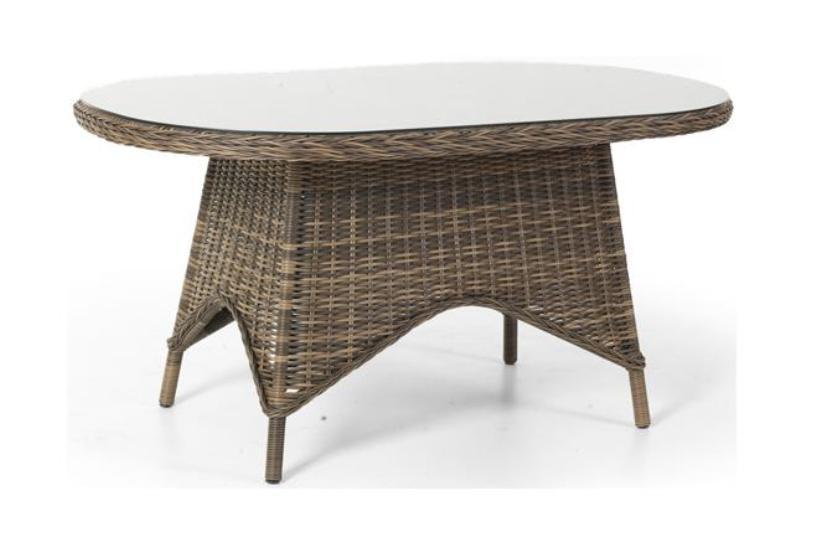 Плетеный стол Paulina-5Плетеная мебель из искусственного ротанга<br>Размер: 150x73,5 В90<br><br>Артикул: 5639-60<br>Материалы: Искусственный ротанг, высококачественное стекло<br>Каркас: Алюминиевый<br>Полный размер: 150x73,5 В90<br>Цвет: Коричневый<br>Изготовление и доставка: 2-3 дня<br>Условия доставки: Бесплатная по Москве до подъезда<br>Условие оплаты: Оплата наличными при получении товара<br>Гарантия: 12 месяцев<br>Производство: Швеция<br>Производитель: Brafab