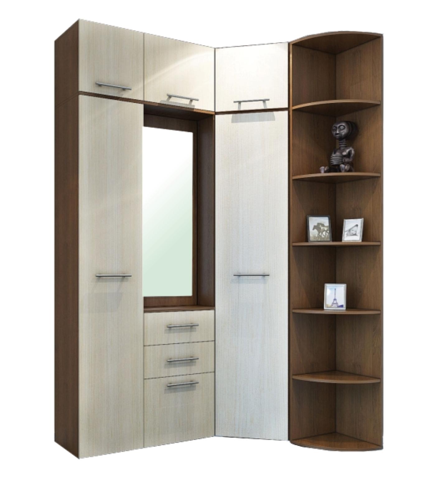 Прихожая КорнерПрихожие<br>Размер: 1550/1060х2400х380, ширина угл. шкафа по стене 680<br><br>Материалы: ЛДСП Kronospan - 16 мм., кромка ПВХ - 0,4 мм., зеркало<br>Полный размер: 1550/1060х2400х380, ширина угл. шкафа по стене 680<br>Наполнение шкафа: Угловой шкаф платьяной, пенал с полками<br>Примечание: Доставляется в разобранном виде<br>Изготовление и доставка: 10-14 дней<br>Условия доставки: Бесплатная по Москве до подъезда<br>Условие оплаты: Оплата наличными при получении товара<br>Доставка по МО (за пределами МКАД): 30 руб./км<br>Доставка в пределах ТТК: Строго после 22:00 (центр Москвы)<br>Подъем на грузовом лифте: 700 руб.<br>Подъем без лифта: 350 руб./этаж<br>Сборка: 10% от стоимости изделия, но не менее 1,000 руб.<br>Гарантия: 12 месяцев<br>Производство: Россия<br>Производитель: Grey