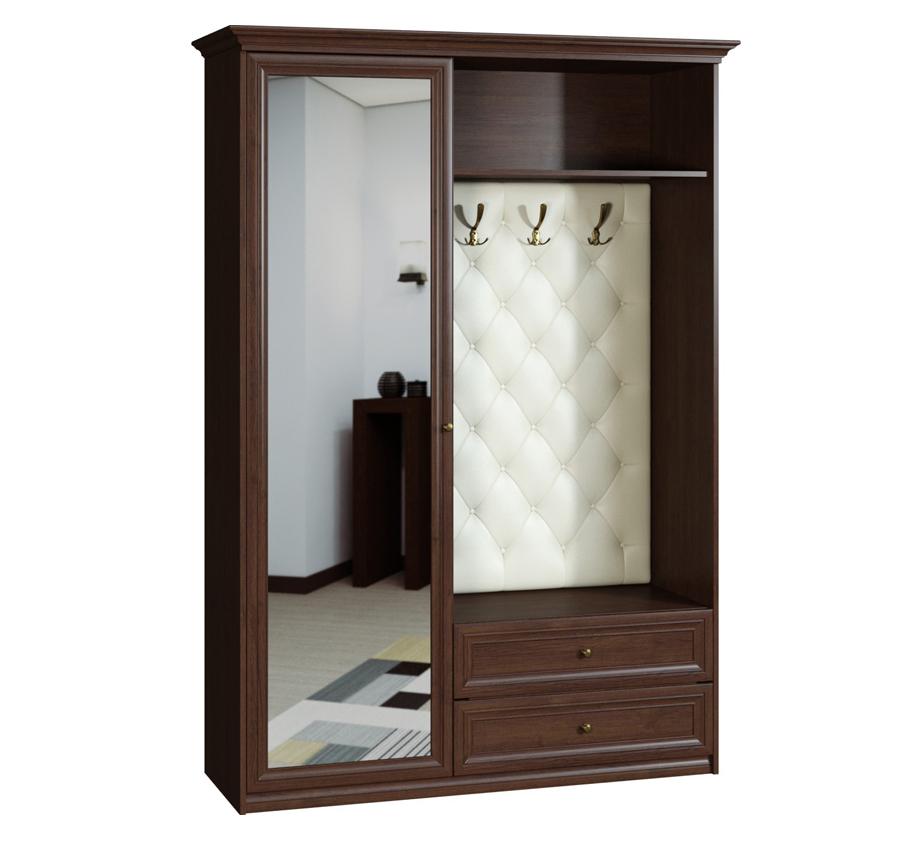 Прихожая Вереск-2Прихожие<br>Размер: 1388х2160х450<br><br>Материалы: ЛДСП, зеркало в рамке МДФ, мебельная кожа с прострочкой<br>Полный размер (ДхВхГ): 1388х2160х450<br>Наполнение шкафа: Платяное - выдвижной кронштейн<br>Цвет: Венге темный<br>Примечание: Доставляется в разобранном виде<br>Изготовление и доставка: 8-15 дней<br>Условия доставки: Бесплатная по Москве до подъезда<br>Условие оплаты: Оплата наличными при получении товара<br>Подъем на грузовом лифте: 500 руб.<br>Подъем без лифта: 300 руб./этаж, если только на первый этаж / занос в дом - 500 руб.<br>Сборка: 10% от стоимости изделия, при сложной сборке (ниша, зазор до стены/потолка менее 10 см) 15% от стоимости изделия, осуществляется в течение 1-2 дней после доставки. Выезд сборщика за МКАД 30 руб./км<br>Гарантия: 18 месяцев<br>Производство: Россия<br>Производитель: Вереск