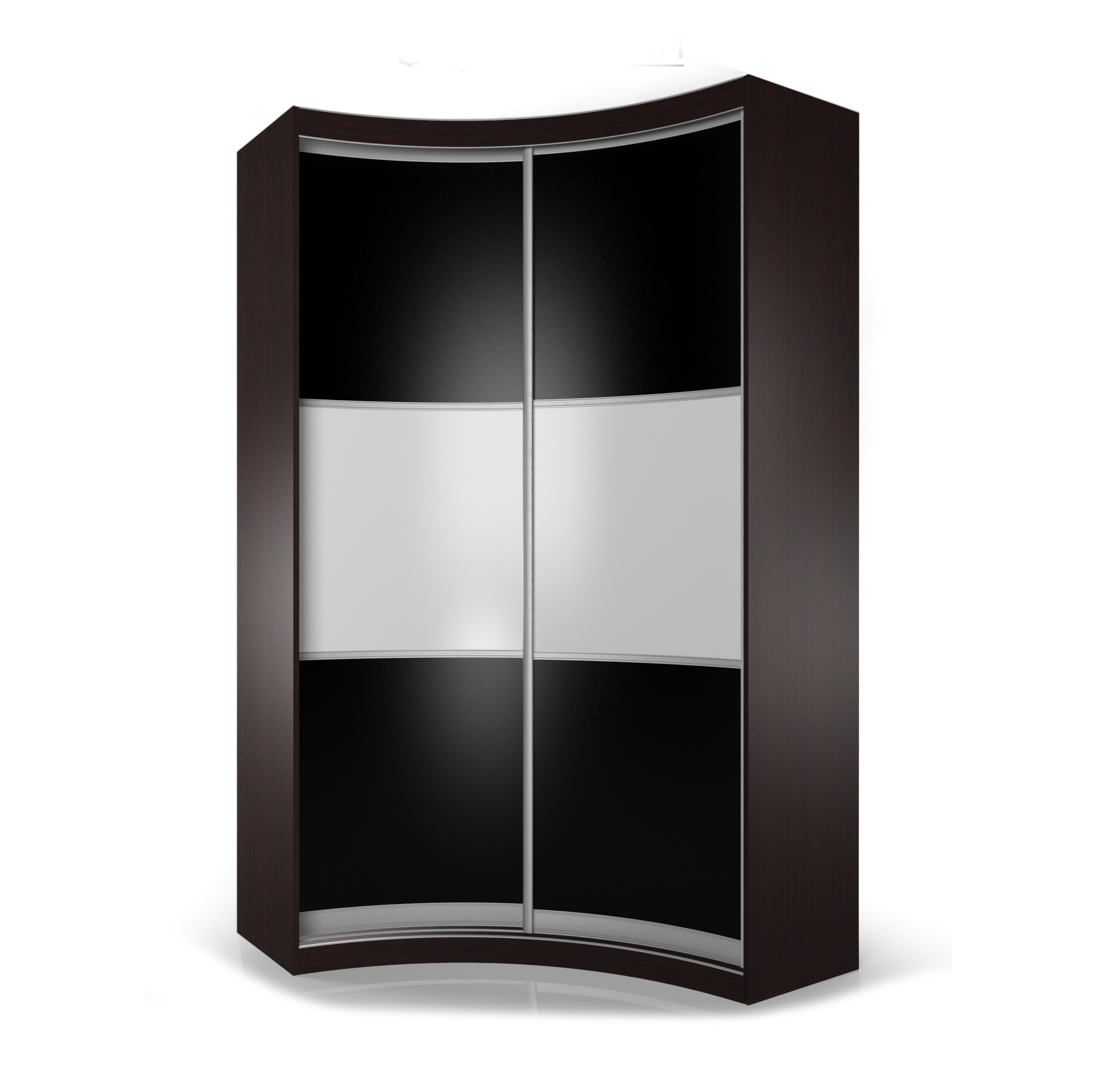 Угловой распашной шкаф радиусный мебель для спальни.