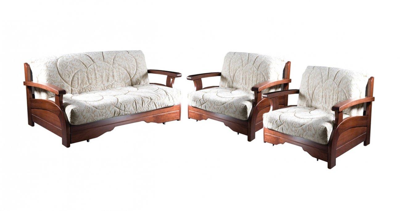 комплект мягкой мебели с деревянными подлокотниками