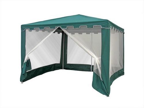 Садовый шатер WS-G05/AШатры, тенты, зонтики<br>размер: 300х300 В250<br><br>Артикул: WS-G05/A<br>Материалы: Полиэстер<br>Каркас: Труба: сталь D25х19х19<br>Полный размер: 300х300 В250<br>Вес товара (кг): 9<br>Комплектация: Растяжки и колышки в комплекте<br>Цвет: Зеленый<br>Примечание: Москитная сетка с молнией<br>Изготовление и доставка: 2-3 дня<br>Условия доставки: Бесплатная по Москве до подъезда<br>Условие оплаты: Оплата наличными при получении товара<br>Производитель: Афина Мебель