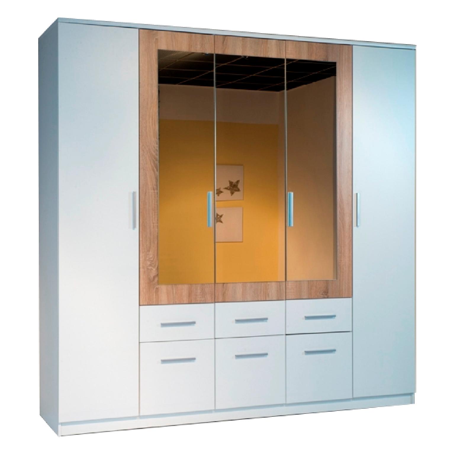 Шкаф ШР-708Шкафы<br>Размер: 2000х2200х530<br><br>Материалы: ЛДСП Kronospan - 16 мм., кромка ПВХ - 0,4 мм., зеркало<br>Полный размер (ДхВхГ): 2000х2200х530<br>Наполнение шкафа: Платье+Белье+Платье<br>Примечание: Доставляется в разобранном виде<br>Изготовление и доставка: 10-14 дней<br>Условия доставки: Бесплатная по Москве до подъезда<br>Условие оплаты: Оплата наличными при получении товара<br>Доставка по МО (за пределами МКАД): 30 руб./км<br>Доставка в пределах ТТК: Доставка в центр Москвы осуществляется ночью, с 22.00 до 6.00 утра<br>Подъем на грузовом лифте: 700 руб.<br>Подъем без лифта: 350 руб./этаж, включая первый<br>Сборка: 10% от стоимости изделия<br>Гарантия: 12 месяцев<br>Производство: Россия<br>Производитель: Grey