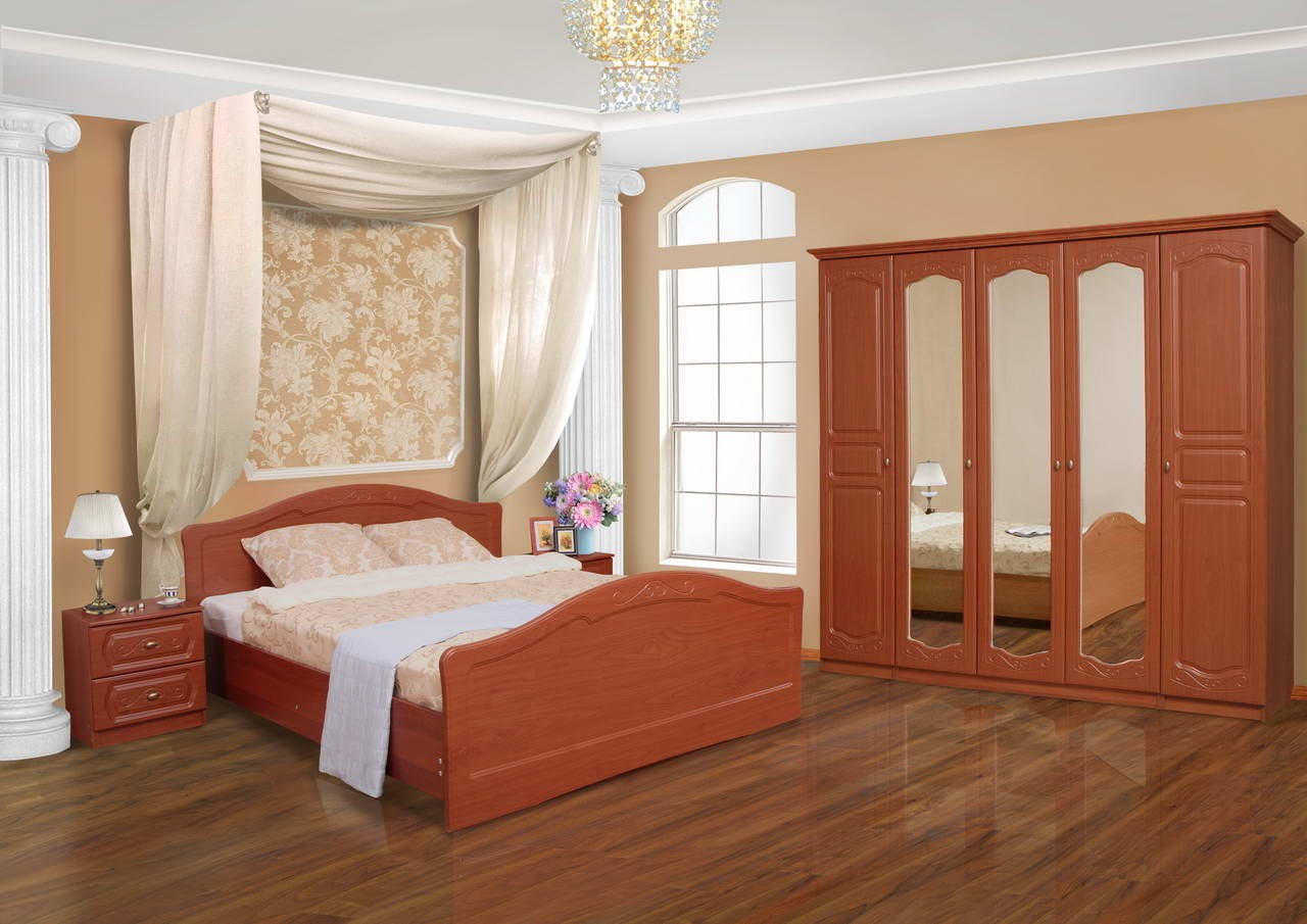 Спальня Аурелия-3Спальни<br>Комплектация: кровать СП-1-А, тумба прикроватная ТП-1-А (2 шт.), шкаф 5 дверный комбинированный Ш-14-А, фигурный карниз для пятистворчатого шкафа ФК-3.<br><br>Материалы: ЛДСП, рамка МДФ<br>Комплектация: Матрас входит в стоимость<br>Примечание: Доставляется в разобранном виде<br>Изготовление и доставка: 8-10 дней<br>Условия доставки: Бесплатная по Москве до подъезда<br>Условие оплаты: Оплата наличными при получении товара<br>Доставка по МО (за пределами МКАД): 30 руб./км<br>Доставка в пределах ТТК: Доставка в центр Москвы осуществляется ночью, с 22.00 до 6.00 утра<br>Подъем на грузовом лифте: 1600 руб.<br>Подъем без лифта: 800 руб./этаж<br>Сборка: 10% от стоимости изделия<br>Гарантия: 12 месяцев<br>Производство: Россия<br>Производитель: Mebelus