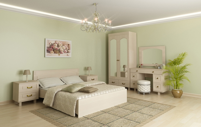 Модульная спальня Элизабет-3 набор эм 3 предмета 11 йогурт 987943