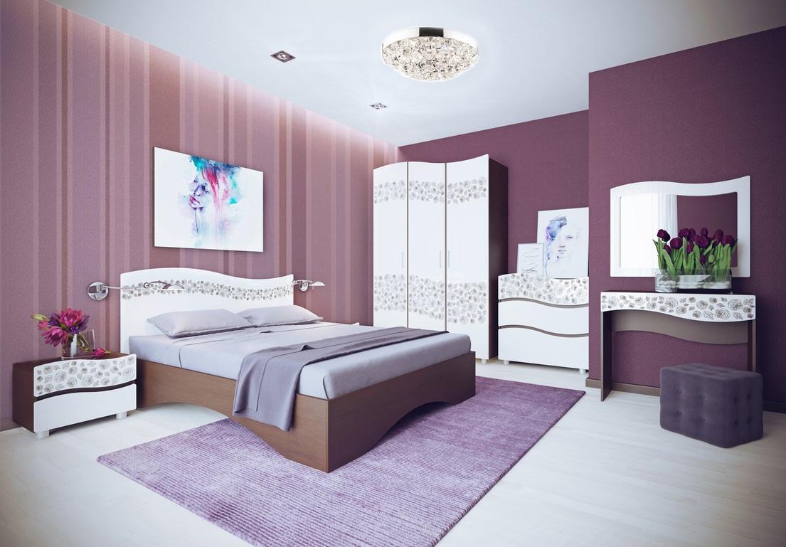 Спальня СеленаСпальни<br>Спальня Селена отличается элегантным дизайном с красивым рисунком на фасаде. Гарнитур выполнен из ЛДСП и фасадом МДФ, состоит из кровати со спальным местом 160 см и ортопедическим основанием, тумбочек к ней, комода и туалетного столика с зеркалом, а также трехстворчатого шкафа с бельевым и платяным наполнением.<br>Комплектация: (можно приобрести по предметно)<br>Кровать:&amp;nbsp;1650х2040х1000 (сп.м. 1600х2000)<br>Тумба прикроватная:&amp;nbsp;550х440х380 (2 шт.)<br>Шкаф для одежды и белья:1500х2260х570<br>Стол туалетный:&amp;nbsp;900х770х415<br>Комод:900х960х440<br>Зеркало:&amp;nbsp;896х750х16<br>Дополнительно можно приобрести&amp;nbsp;матрас для кровати&amp;gt;&amp;gt;<br><br>Материалы: ЛДСП, фасад МДФ, кромка ПВХ<br>Наполнение шкафа: 2-х ств. сторона платяная-штанга, 1 ст. шкаф бельевой-полки<br>Комплектация: Кровать с ортопедическим основанием<br>Цвет: Комби: Ясень Шимо темный+Белый глянец с фотопечатью<br>Матрас: В стоимость не входит<br>Примечание: Доставляется в разобранном виде<br>Изготовление и доставка: 10-14 дней<br>Условия доставки: Бесплатная по Москве до подъезда<br>Условие оплаты: Оплата наличными при получении товара<br>Доставка по МО (за пределами МКАД): 30 руб./км<br>Доставка в пределах ТТК: Доставка в центр Москвы осуществляется ночью, с 22.00 до 6.00 утра<br>Подъем на грузовом лифте: 1600 руб.<br>Подъем без лифта: 800 руб./этаж, включая первый<br>Сборка: 10% от стоимости изделия<br>Гарантия: 12 месяцев<br>Производство: Россия, г.Дзержинск<br>Производитель: МК Премиум
