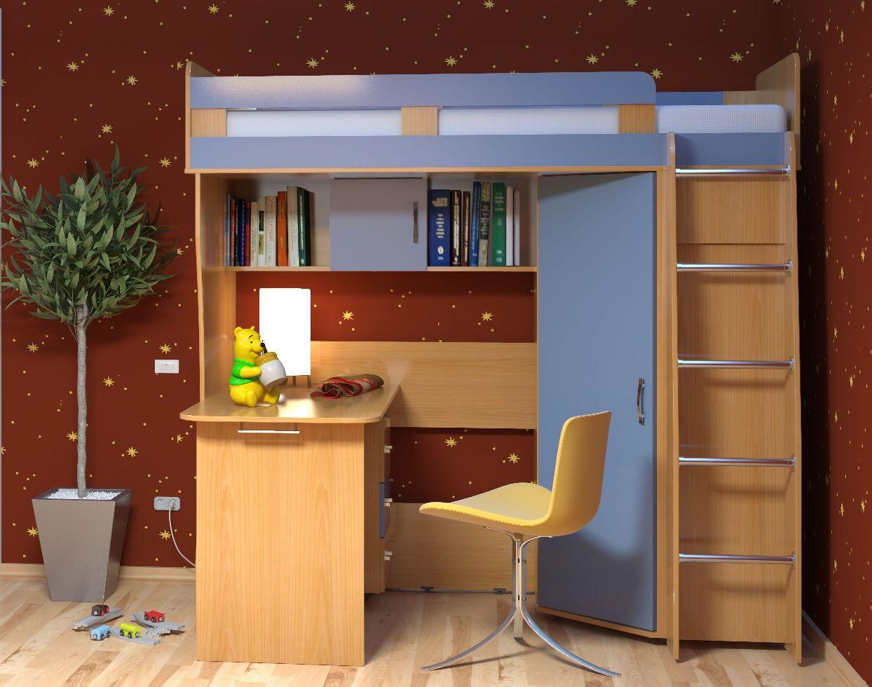 Детская комната Малыш-2Детские комнаты<br>Размер: 2040х1900х840/1020<br><br>Материалы: ЛДСП, рамка МДФ<br>Полный размер (ДхВхГ): 2040х1900х840/1020<br>Спальное место: 800х2000<br>Комплектация: Матрас входит в стоимость<br>Примечание: Ручки пластиковые в цвет мебели!<br>Изготовление и доставка: 8-10 дней<br>Условия доставки: Бесплатная по Москве до подъезда<br>Условие оплаты: Оплата наличными при получении товара<br>Доставка по МО (за пределами МКАД): 30 руб./км<br>Доставка в пределах ТТК: Доставка в центр Москвы осуществляется ночью, с 22.00 до 6.00 утра<br>Подъем на грузовом лифте: 700 руб.<br>Подъем без лифта: 350 руб./этаж (включая первый)<br>Сборка: 10% от стоимости изделия, но не менее 1,000 руб.<br>Гарантия: 12 месяцев<br>Производство: Россия<br>Производитель: Mebelus