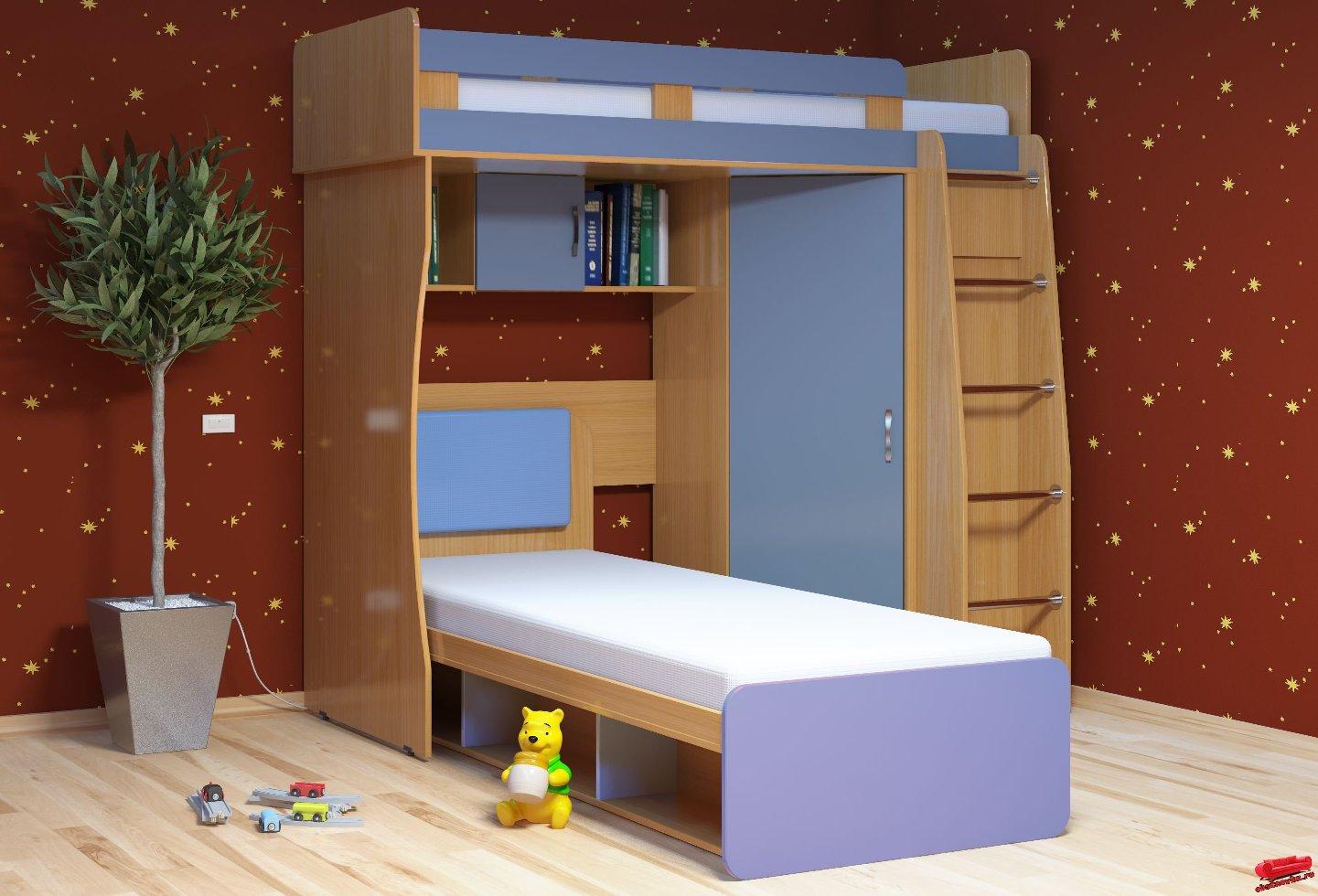Детская комната Малыш-3Детские комнаты<br>Размер: 2040х1900х840/2040<br><br>Материалы: ЛДСП, рамка МДФ<br>Полный размер (ДхВхГ): 2040х1900х840/2040<br>Спальное место: 800х2000<br>Комплектация: Матрас входит в стоимость<br>Примечание: Ручки пластиковые в цвет мебели!<br>Изготовление и доставка: 8-10 дней<br>Условия доставки: Бесплатная по Москве до подъезда<br>Условие оплаты: Оплата наличными при получении товара<br>Доставка по МО (за пределами МКАД): 30 руб./км<br>Доставка в пределах ТТК: Доставка в центр Москвы осуществляется ночью, с 22.00 до 6.00 утра<br>Подъем на грузовом лифте: 700 руб.<br>Подъем без лифта: 350 руб./этаж (включая первый)<br>Сборка: 10% от стоимости изделия, но не менее 1,000 руб.<br>Гарантия: 12 месяцев<br>Производство: Россия<br>Производитель: Mebelus