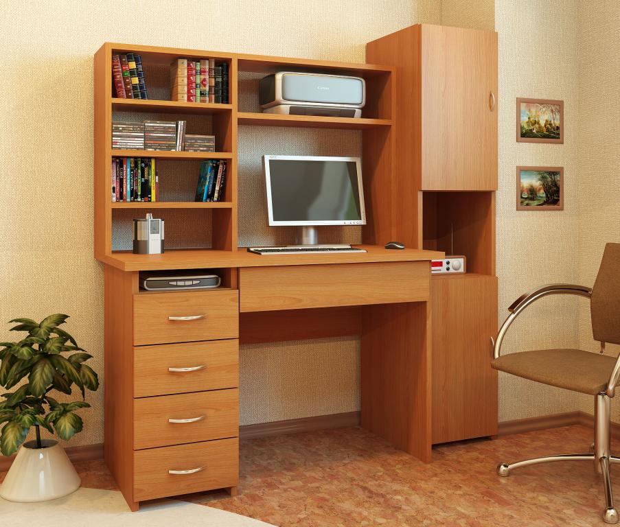 Письменный стол Милан-1 с надставкой и колонкой МФ Мастер