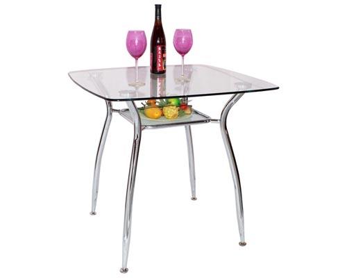 Стол обеденный А 2023Обеденные столы<br>Размер: 80х80х75<br><br>Материалы: Стекло прозрачное<br>Каркас: Хромированный<br>Полный размер (ДхГхВ): 80х80х75<br>Вес товара (кг): 20,4<br>Дополнительные опции: Стол имеет дополнительную полку из прозрачного стекла квадратной формы с закругленными углами (размером 45х45 см). Ножки у стола регулируются по высоте, что позволяет устранять неровности пола<br>Примечание: Доставляется в разобранном виде<br>Изготовление и доставка: 1-2 дня<br>Условия доставки: Бесплатная по Москве до подъезда<br>Условие оплаты: Оплата наличными при получении товара<br>Доставка по МО (за пределами МКАД): 30 руб./км<br>Подъем на лифте: 300 руб.<br>Гарантия: 12 месяцев<br>Производство: Китай