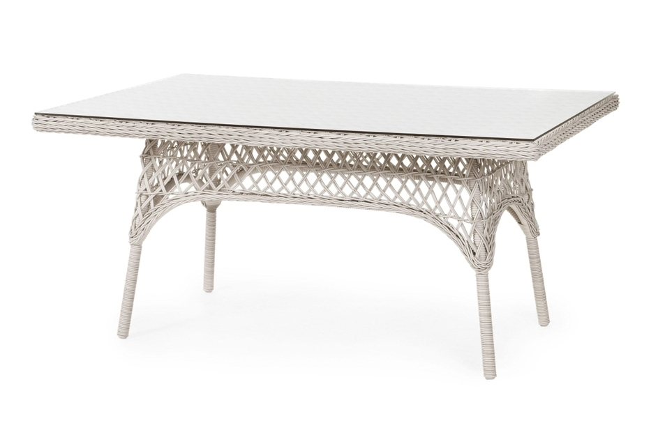 Плетеный прямоугольный стол Beatrice-1 whiteПлетеная мебель из искусственного ротанга<br>Размер: 220х100 В70<br><br>Артикул: 5699-5<br>Материалы: Искусственный ротанг, прозрачное-высокопрочное стекло<br>Каркас: Алюминиевый<br>Полный размер: 220х100 В70<br>Цвет: Белый<br>Изготовление и доставка: 2-3 дня<br>Условия доставки: Бесплатная по Москве до подъезда<br>Условие оплаты: Оплата наличными при получении товара<br>Производство: Швеция<br>Производитель: Brafab