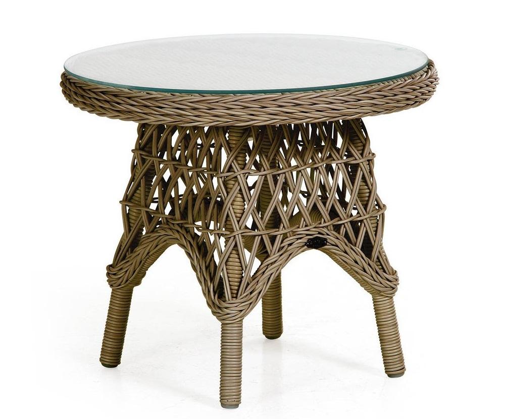 Плетеный круглый стол Beatrice-2 brownПлетеная мебель из искусственного ротанга<br>Размер: 60 В50<br><br>Артикул: 5698-60<br>Материалы: Искусственный ротанг, прозрачное-высокопрочное стекло<br>Каркас: Алюминиевый<br>Полный размер: &amp;#216;60 В50<br>Цвет: Коричневый<br>Изготовление и доставка: 2-3 дня<br>Условия доставки: Бесплатная по Москве до подъезда<br>Условие оплаты: Оплата наличными при получении товара<br>Производство: Швеция<br>Производитель: Brafab