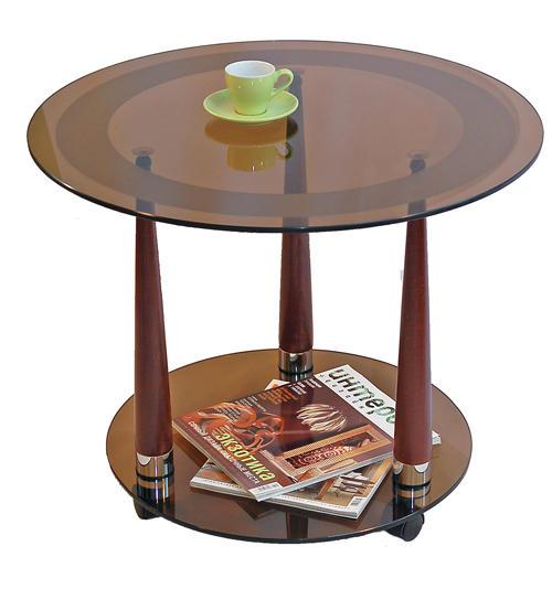 Стол журнальный Квартет-13Журнальные столики<br>Размер: &amp;#216;650 В500<br><br>Материалы: Стекло 8 мм, массив дуба<br>Полный размер: 650х500<br>Вес товара (кг): 11<br>Цвет: Махагон/Тонированное, Средне-коричневый/Прозрачное<br>Примечание: На столешницу нанесен рисунок методом пескоструя<br>Изготовление и доставка: 2-3 дня<br>Количество упаковок: 2 шт<br>Размер упаковки: А: 460х110х110, В: 690х690х50<br>Условия доставки: Бесплатная по Москве до подъезда<br>Условие оплаты: Оплата наличными при получении товара<br>Доставка по МО (за пределами МКАД): 30 руб./км<br>Подъем на лифте: 300 руб.<br>Гарантия: 12 месяцев<br>Производство: Россия<br>Производитель: Мебелик (Дик)