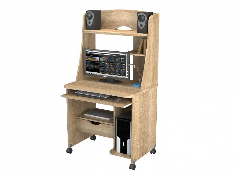 Компьютерный стол КС 20-22м1Компьютерные столы<br>Размер: 800х600 В1520<br><br>Материалы: ЛДСП, кромка ПВХ<br>Полный размер (ДхГхВ): 800х600х1520<br>Габарит монитора: 470х500 (диагональ от 15 до 22)<br>Вес товара (кг): 45<br>Комплектация: Суммарная емкость CD держателей - 30 дисков<br>Цвет: Дуб Сонома, Орех Валенсия, Венге, Дуб молочный<br>Примечание: Стол может комплектоваться тумбами<br>Изготовление и доставка: 2-3 дня<br>Условия доставки: Бесплатная по Москве до подъезда<br>Условие оплаты: Оплата наличными при получении товара<br>Доставка по МО (за пределами МКАД): 30 руб./км<br>Подъем на лифте: 300 руб.<br>Гарантия: 12 месяцев<br>Производство: Россия, г. Москва<br>Производитель: ВасКо (Дик)