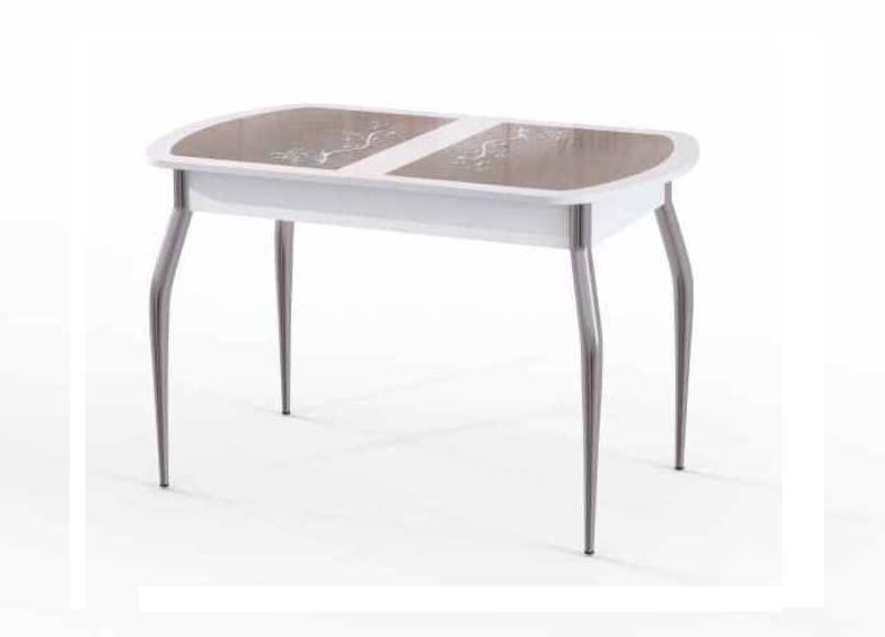 Стол обеденный  ФлоренцияОбеденные столы<br>Размер: 110/140х70х75<br><br>Материалы: Столешница ДСП, каленое стекло 4 мм., основание - хром<br>Полный размер (ДхГхВ): 110/140х70х75<br>Вес товара (кг): 28, объем 0,116 куба<br>Цвет: Белый, серебро, черный<br>Изготовление и доставка: 2-3 дня<br>Условия доставки: Бесплатная по Москве до подъезда<br>Условие оплаты: Оплата наличными при получении товара<br>Доставка по МО (за пределами МКАД): 30 руб./км<br>Подъем на грузовом лифте: 500 руб.<br>Гарантия: 12 месяцев<br>Производство: Россия<br>Производитель: ЭдРуМ (Дик)