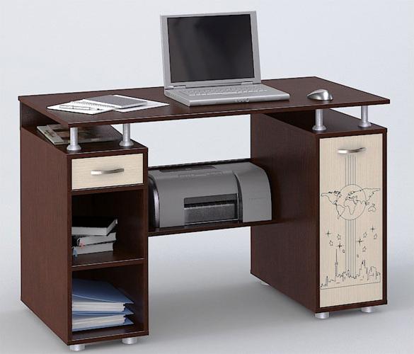 Компьютерный стол СК-4 Flash с рисункомКомпьютерные столы<br>Размер: 120х55 В77,5<br><br>Материалы: ЛДСП, кромка ПВХ<br>Полный размер: 120х55 В77,5<br>Вес товара (кг): 40<br>Цвет: Венге/Ясень<br>Дополнительные опции: Стол является универсальным и может быть собран как в правом, так и в левом исполнении<br>Изготовление и доставка: 2-3 дня<br>Условия доставки: Бесплатная по Москве до подъезда<br>Условие оплаты: Оплата наличными при получении товара<br>Подъем на лифте: 300 руб.<br>Гарантия: 12 месяцев<br>Производство: Россия, г. Шатура<br>Производитель: Наша мебель (Дик)
