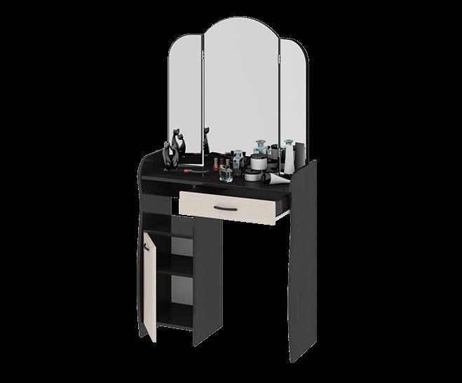 Стол туалетный София Т1Туалетные столики<br>Размер: 786х330 В1520<br><br>Материалы: ЛДСП, кромка ПВХ<br>Полный размер (ДхГхВ): 786х330х1520<br>Вес товара (кг): 36<br>Цвет: Венге цаво/Дуб белфорт<br>Примечание: Доставляется в разобранном виде<br>Изготовление и доставка: Склад до 5 дней, под заказ 2-3 недели<br>Условия доставки: Бесплатная по Москве до подъезда<br>Условие оплаты: Оплата наличными при получении товара<br>Доставка по МО (за пределами МКАД): 35 руб./км. Доставка за МКАД, за пределы трассы А-107 (ММК)<br>Доставка в пределах ТТК: +1000 руб. Доставка в центр Москвы осуществляется ночью, с 22.00 до 7.00 утра<br>Подъем на лифте: 4% от стоимости изделия<br>Подъем без лифта: 2% от стоимости изделия за 1 этаж<br>Сборка: 1000 руб. Выезд сборщика за МКАД+500 руб.<br>Гарантия: 18 месяцев<br>Производство: Россия<br>Производитель: ТриЯ