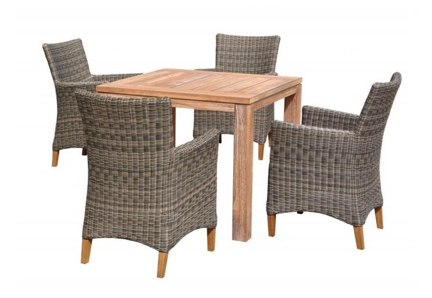 Набор садовой мебели ЛанаПлетеная мебель из искусственного ротанга<br>Размер: Стол: 90х90 В77; Стул: 57х61 В85<br><br>Артикул: Стол 859572, кресло 858113<br>Материалы: Массив тика, искусственный ротанг<br>Каркас: Стол-деревянный, кресло-алюминиевый<br>Полный размер: Стол: 90х90 В77; Стул: 57х61 В85<br>Комплектация: Стол, 4 стула<br>Цвет: Ротанг-серый, Тик-натуральный<br>Изготовление и доставка: 2-3 дня<br>Условия доставки: Бесплатная по Москве до подъезда<br>Условие оплаты: Оплата наличными при получении товара<br>Гарантия: 12 месяцев<br>Производство: Китай<br>Производитель: 4sis