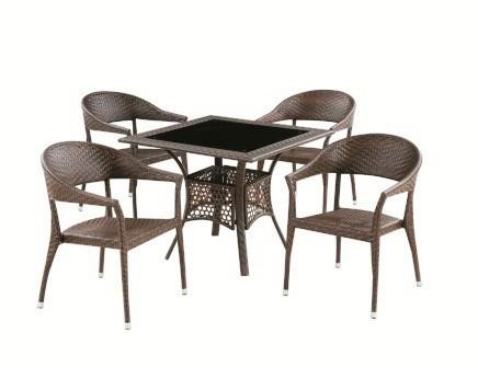 Комплект мебели для дачи НеапольПлетеная мебель из искусственного ротанга<br>Размер: Стол: 90х90 В73; Кресло: 55х48 В79<br><br>Артикул: T209A Y-209 GOLDEN BROWN<br>Материалы: Искусственный ротанг, стекло закаленное - 6 мм<br>Каркас: Сталь<br>Полный размер: Стол: 90х90 В73; Кресло: 55х48 В79<br>Комплектация: Стол, 4 кресла<br>Изготовление и доставка: 2-3 дня<br>Условия доставки: Бесплатная по Москве до подъезда<br>Условие оплаты: Оплата наличными при получении товара<br>Производство: Китай<br>Производитель: Афина Мебель