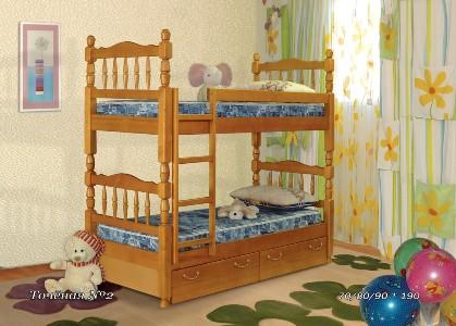 Деревянная кровать Точеная №2 (А)Кровати<br>Деревянная кровать «Точеная №2» (А) – двухъярусная кровать в детскую. Преимущества таких моделей оценят те, кто хочет купить кровать в детскую небольших размеров. Размеры данной кровати – 70/80/90х190 см.<br>