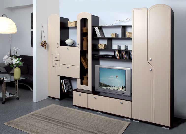 Cтенка Verossa-3Стенки<br>Веросса-3 стенка имеет прямую форму, современный дизайн, очень вместительная, практичная функциональная. Стенка состоит из двустворчатого платяного шкафа, витрины для посуды, шкафа-пенала, стела с открытыми полками и выдвижными ящиками, тумбочки для телевизора со шкафчиками, модуля из трех открытых полок для книг и дисков, расположенных над телевизором.<br><br>Материалы: ЛДСП, МДФ<br>Полный размер: 2074x2650x580, под ТВ 750x700x580<br>Изготовление и доставка: До 3-х дней<br>Условия доставки: Бесплатная по Москве до подъезда<br>Условие оплаты: Оплата наличными при получении товара