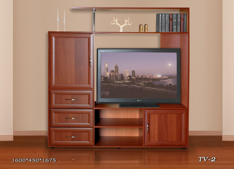 Тумба под телевизор ТВ-2 с ящикамиТумбы под телевизор<br>Размер: 1600х450 В1675<br><br>Материалы: ЛДСП, кромка ПВХ, рамка МДФ<br>Полный размер: 1600х450 В1675<br>Доступны другие размеры: Нет<br>Ниша под ТВ: 1100х860<br>Примечание: Доставляется в разобранном виде<br>Изготовление и доставка: 8-10 дней<br>Условия доставки: Бесплатная по Москве до подъезда<br>Условие оплаты: Оплата наличными при получении товара<br>Подъем на грузовом лифте: 300 руб.<br>Сборка: 1000 руб.<br>Гарантия: 12 месяцев<br>Производство: Россия<br>Производитель: Стезар