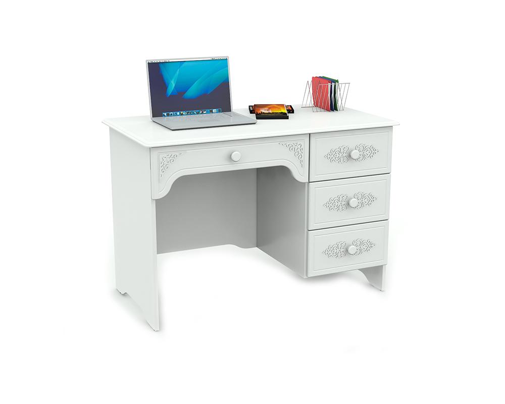 Компьютерный стол письменный прованс (ассоль) мдф белая-06 а.