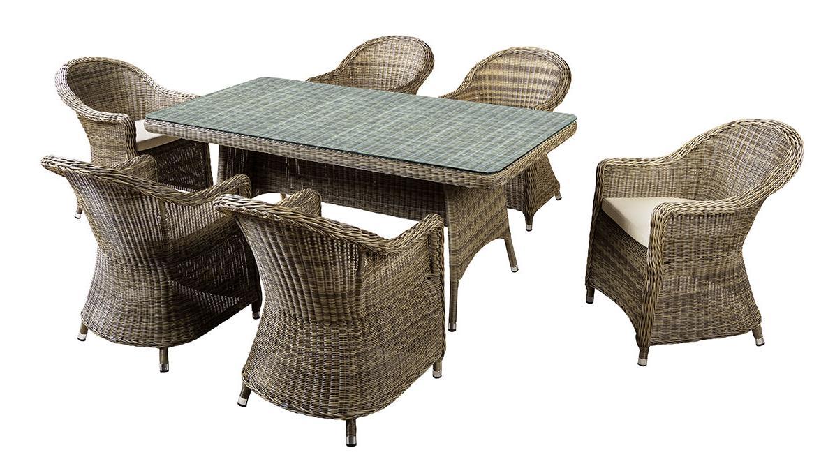 Комплект плетеной мебели ВенетоПлетеная мебель из искусственного ротанга<br>Размер: Стол 181х95 В75; Кресло 61х70 В86<br><br>Артикул: Кресло 641811, стол 641872<br>Материалы: Искусственный ротанг<br>Каркас: Алюминиевый<br>Полный размер: Стол 181х95 В75; Кресло 61х70 В86<br>Наполнитель: ППУ высокой плотности (пенополиуретан)<br>Комплектация: Стол, кресло 6 шт., подушки<br>Цвет: Коричневый<br>Изготовление и доставка: 2-3 дня<br>Условия доставки: Бесплатная по Москве до подъезда<br>Условие оплаты: Оплата наличными при получении товара<br>Гарантия: 12 месяцев<br>Производство: Китай<br>Производитель: 4sis