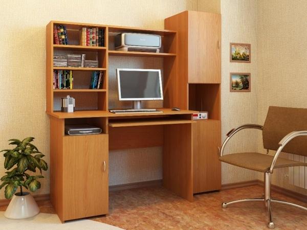 Компьютерный стол Милан-8 с надставкой и колонкой