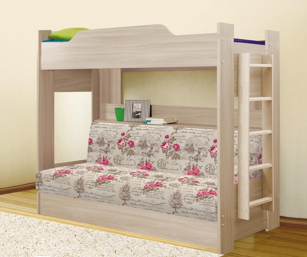 Кровать двухъярусная с диван-кроватью